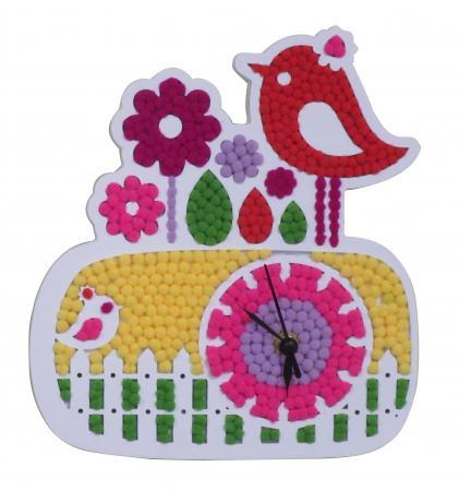 pompomart bird clock