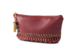 Burgandy Pencil case with leather suede cords